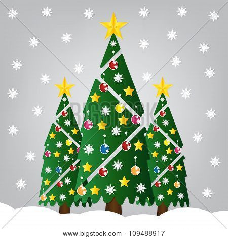 Christmas Tree With Colorful Ornaments And Glod Star And Falling Snow. Vector Illustration.