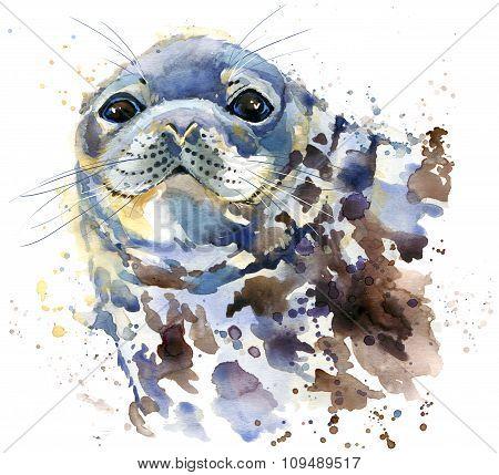 seal T-shirt graphics, marine seal illustration with splash watercolor textured background. illustra