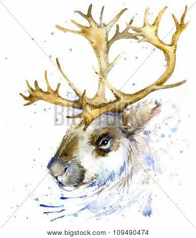 Reindeer watercolor T-shirt graphics,. Reindeer illustration with splash watercolor textured backgro