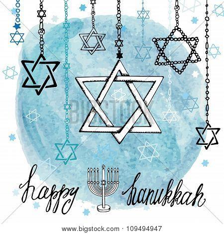 Happy Hanukkah David Star.Watercolor splash