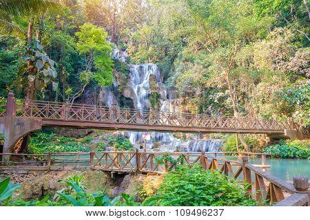 Waterfall In Rain Forest (tat Kuang Si At Luang Prabang.)