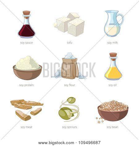 Cartoon soy food vector set