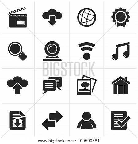 Black Internet and website icons