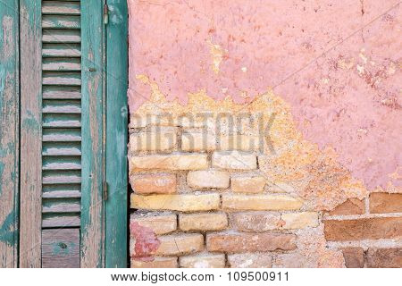 Old Brick A Wall And Window With Shutter