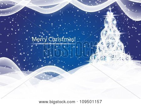 Shining Christmas Tree On Blue Blizzard Abstract Background