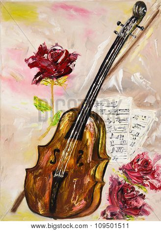 Violin And Roses