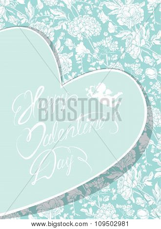 Elegant Card With Decorative Florish Pattern. Happy Valentines Day Calligraphic Text. Design Also Fo