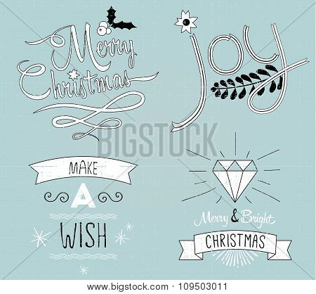 Collection of Christmas decor and typography