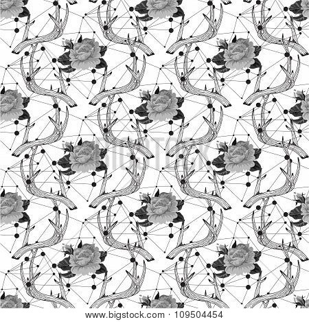 Black and White Hipster seamless pattern with triangle, deer hor
