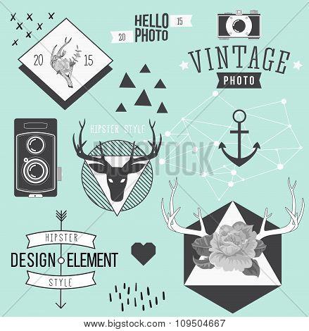 Vintage hipster hand drawn design elements set