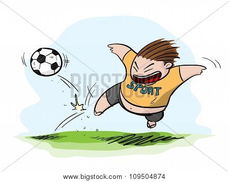 Fat Kid Playing Football/Soccer