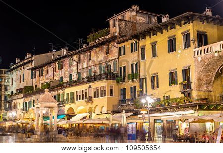 Houses On Piazza Delle Erbe In Verona - Italy