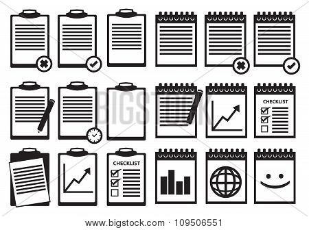 Black And White Clipboard Notebook Vector Icon Set