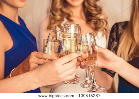 Closeup Photo Of Girls Celebrating A Bachelorette Party Of Bride