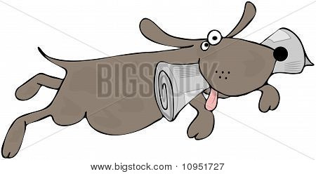 This illustration depicts a happy dog jumping in the air with a newspaper in its mouth. poster
