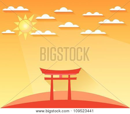 Japan Gate. Torii gate. Shinto. Landscape in a flat style with sun and clouds. Vector illustration o