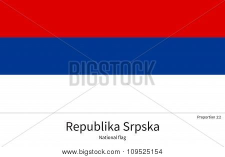 National flag of Republika Srpska with correct proportions, element, colors for education books and official documentation poster