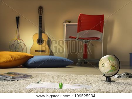 boy room with objects