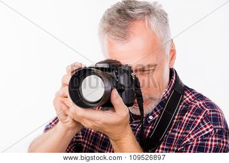 Closeup Photo Of A Photographer Taking A Photo