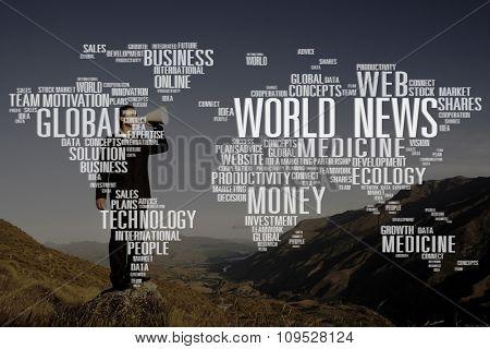 World News Data Ecology Investment maket Medicine Concept