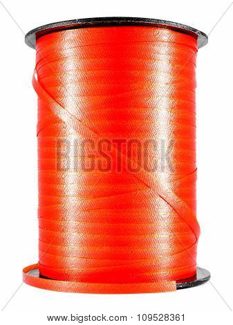 Red narrow ribbon coil, for holiday gift or present packing poster