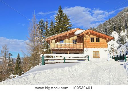 ACHENKIRCH, AUSTRIA - JANUARY 2015 : Adlerhorst mountain hut at the altitude of 1310m in Brandenberg Alpen in Achenkirch, Austria on January 1, 2015. Adlerhorst is a German for eagle's nest