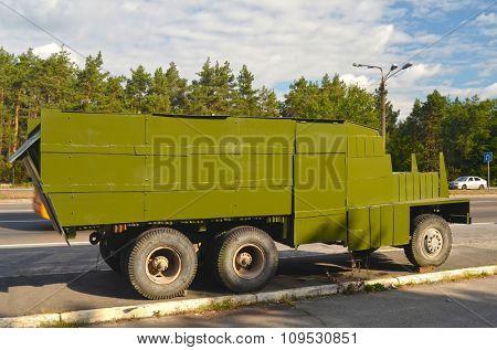 KIEV, UKRAINE - September 08, 2015: Improvised armored fighting vehicle for Civil War. Model Shush-Panzer
