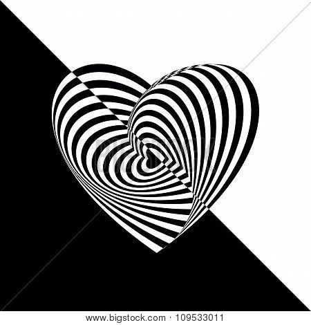 Geometric optical illusion black and white heart on isolated background. Vector illustration