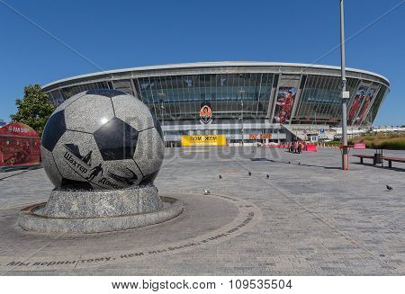Donetsk, Ukraine - August 22, 2015: Empty During The War The Stadium
