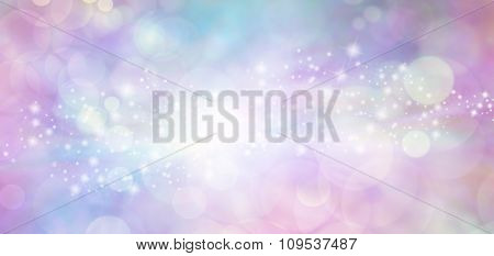 Pink and blue starry glitter feminine toned bokeh background banner