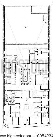Plan of the house of Pansa, vintage engraved illustration. Private life of Ancient-Antique family-1881.