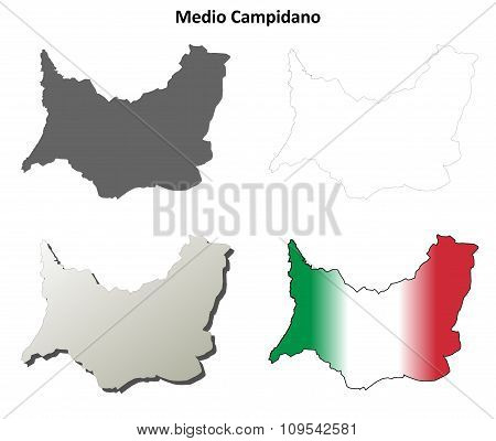 Medio Campidano blank detailed outline map set