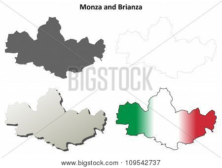 Monza and Brianza blank detailed outline map set