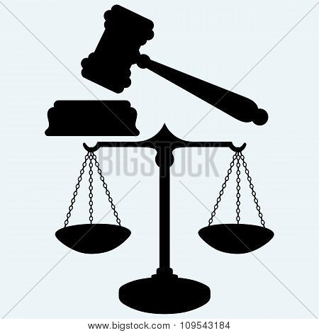 Scale and judge gavel