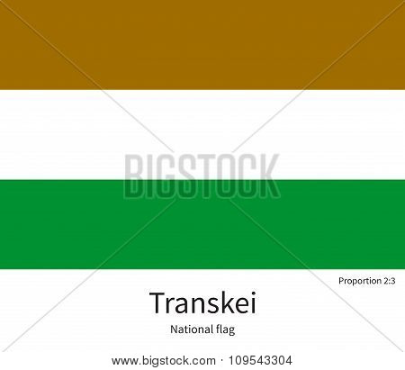 National flag of Transkei with correct proportions, element, colors