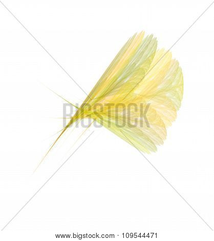 Bright Yellow Fractal Feather Or Flower, Creative Abstract Fractal Illustration, Isolated On White B