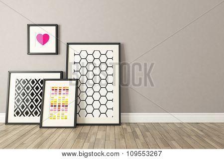 Black Picture Frames Decor, Background, Template Design 3D Render