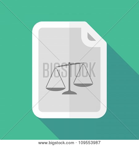 Long Shadow Document Vector Icon With  An Unbalanced Weight Scale