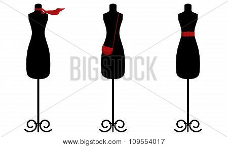 Three mannequin with accessories for modeling clothes