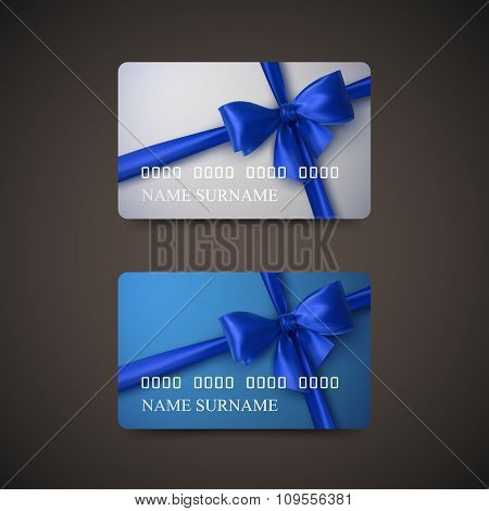 Gift Cards With Blue Bow And Ribbon.