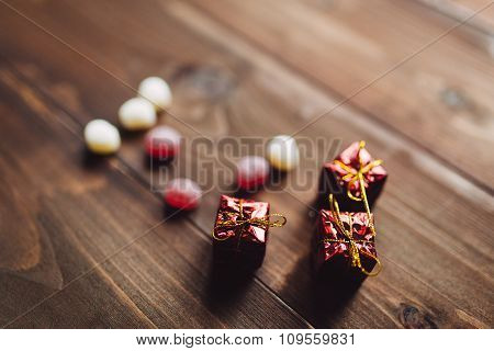 Heart Shaped Sweeties With Christmas Gifts