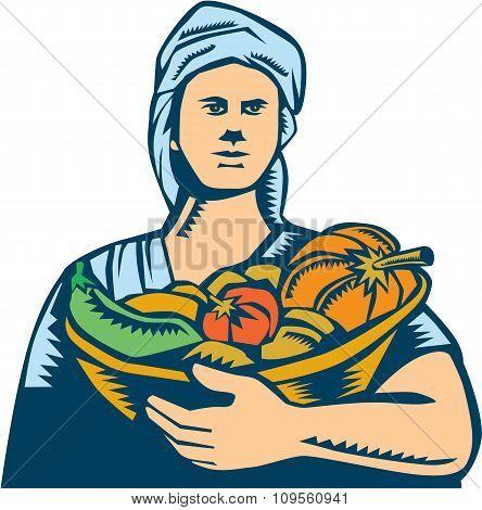 Lady Organic Farmer Produce Harvest Woodcut