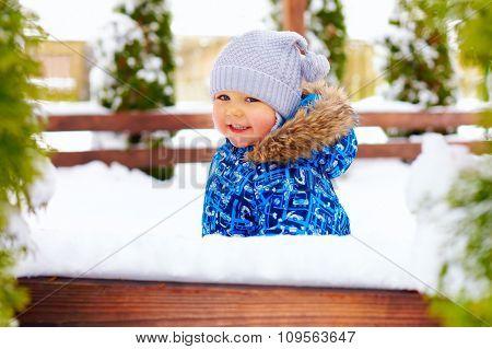 Cute Little Baby Boy On The Winter Walk In Park