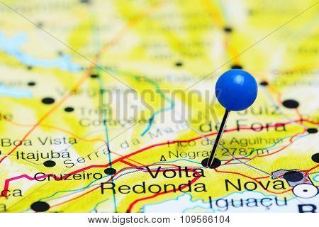 Volta Redonda pinned on a map of Brazil