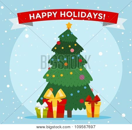 Christmas tree cartoon vector illustration. Christmas tree background. Christmas tree traditional greeting card. Christmas tree isolated on background. Christmas New Year card