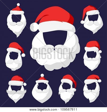 Portrait Santa Claus face cut mask silhouette. Santa face,  mustache and santa red hat transparency.Santa hat. New Year 2016 santa face.Santa head vector. Santa Christmas greeting card. Santa face