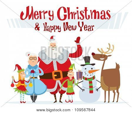 Santa Claus, Missis Claus, kids family vector illustration. Santa Clau, Missis Claus cartoot people. Missis Claus traditional costume. Santa Claus isolated on background. Santa Claus family portrait