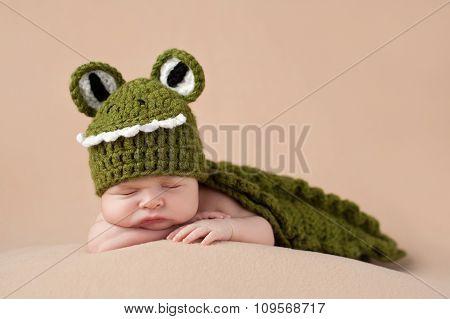 Newborn Baby Boy Wearing An Alligator Costume