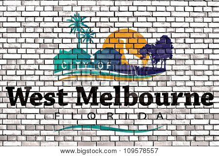 Flag Of West Melbourne Painted On Brick Wall