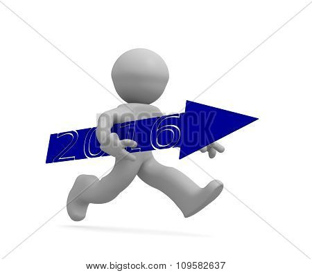 Upswing concept with a character holding a blue arrow of 2016, 3d rendering